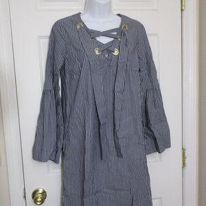 MICHAEL KORS LONG SLEEVE LACE UP SHIRT DRESS